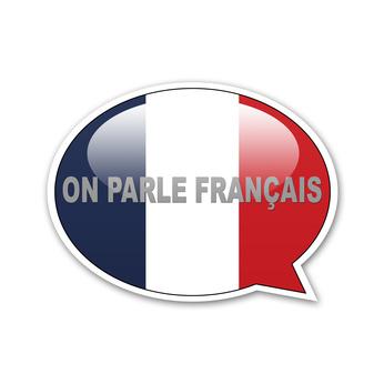 Pegatina globo ON PARLE FRANÇAIS